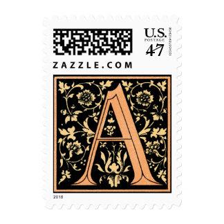 Vintage Gold & Black Floral Monogram 'A' - Stamp