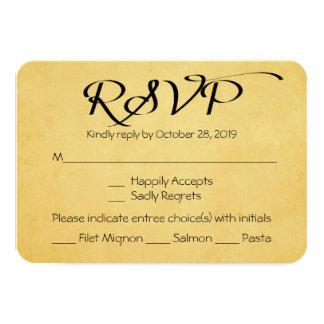 Vintage Gold & Black RSVP Wedding Party Response 3.5x5 Paper Invitation Card