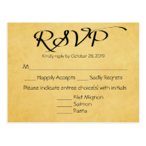 Vintage Gold & Black RSVP Wedding Party Response Postcard
