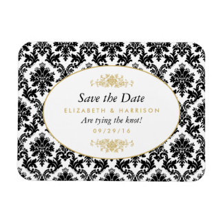 Vintage Gold, Black & White Damask Save The Date Magnet