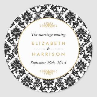 Vintage Gold, Black & White Damask Wedding Favor Classic Round Sticker
