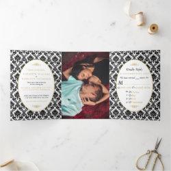 Vintage Gold, Black & White Damask Wedding Suite Tri-Fold Invitation