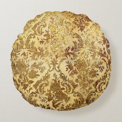 Vintage Gold/Brown-Cotton Round Throw Pillow Zazzle