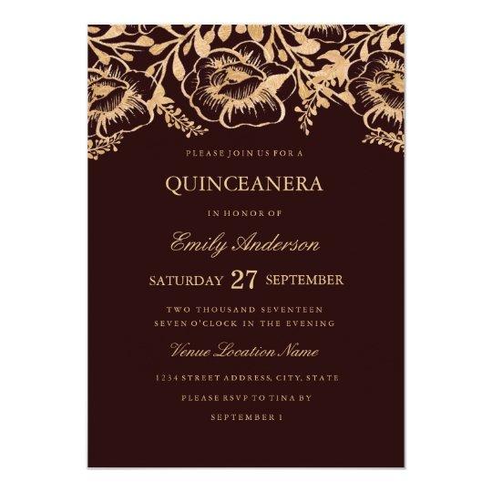 Vintage Gold Burgundy Floral Quinceanera Invite Zazzle Com