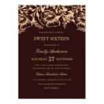 Vintage Gold Burgundy Floral Sweet Sixteen Card