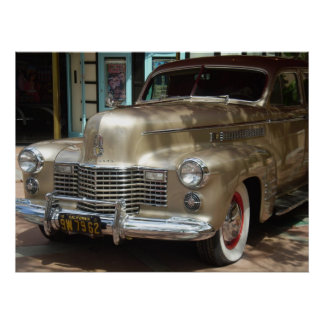 VINTAGE GOLD CADILLAC POSTER