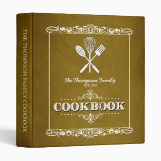 Vintage Gold Chalkboard Family Cookbook Binder