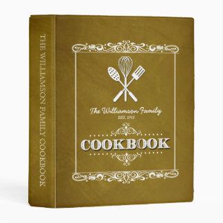 Vintage Gold Chalkboard Family Cookbook Mini Binder