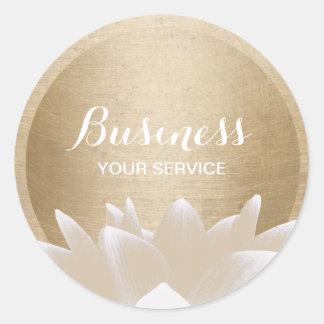 Vintage Gold Circle Lotus Flower Classic Round Sticker