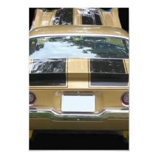 Vintage gold classic car with black racing stripes card