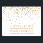 "Vintage Gold Confetti Bridal Shower Recipe Cards<br><div class=""desc"">Vintage Glam Gold Confetti Bridal Shower Recipe Cards.  *Please note that Zazzle only sells printed products,  therefore this item does not include any real glitter or foil materials.</div>"