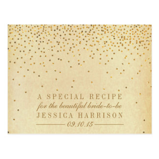 Vintage Gold Confetti Bridal Shower Recipe Cards Postcard
