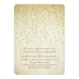 Vintage Gold Confetti Engagement Party Card
