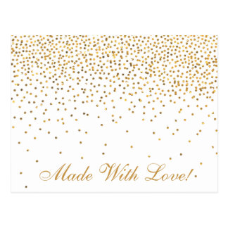Vintage Gold Confetti Kitchen Shower Recipe Cards