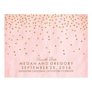 vintage gold confetti pink save the date postcard