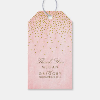 Vintage Gold Confetti Pink Wedding Gift Tags