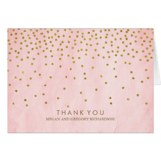 Vintage Gold Confetti Pink Wedding Thank You Card