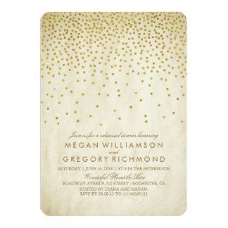 Vintage Gold Confetti Rehearsal Dinner Card