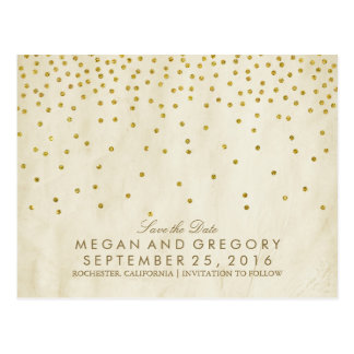 vintage gold confetti save the date postcard