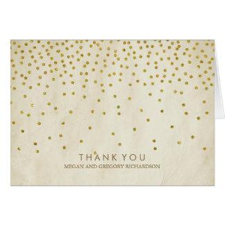 Vintage Gold Confetti Wedding Thank You Card
