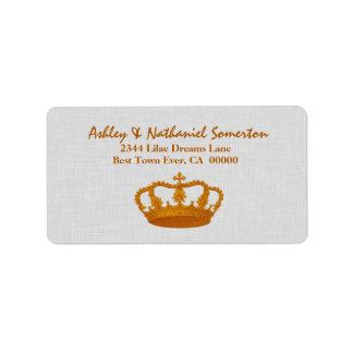 Vintage GOLD Crown Wedding V05 Custom Address Label