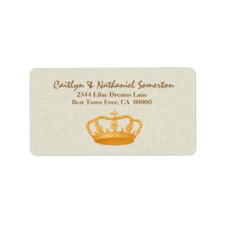 Vintage GOLD Crown Wedding V11 Custom Address Labels