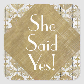 Vintage Gold Damask and White Wood She Said Yes Stickers