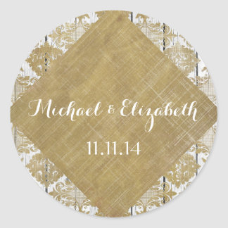 Vintage Gold Damask and White Wood Wedding Classic Round Sticker