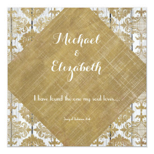 Vintage Gold Damask and Wood with Bible Verse Invite