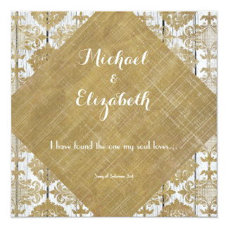 Vintage Gold Damask and Wood with Bible Verse 5.25x5.25 Square Paper Invitation Card