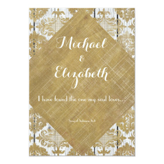 Vintage Gold Damask and Wood with Bible Verse 5x7 Paper Invitation Card