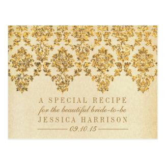 Vintage Gold Damask Bridal Shower Recipe Cards