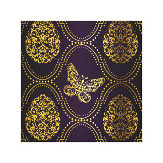 vintage,gold,damask,butterfly,pattern,chic,girly, canvas print