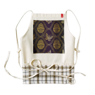 vintage,gold,damask,butterfly,pattern,chic,girly, zazzle HEART apron