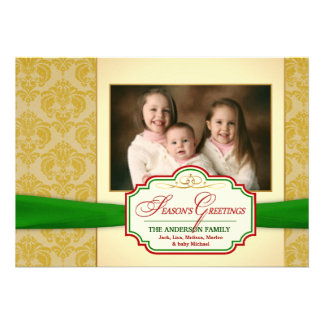Vintage Gold Damask Holiday Photo Card