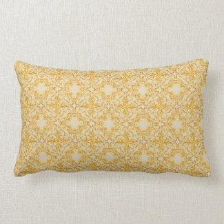 Vintage Gold Damask Lumbar Pillow