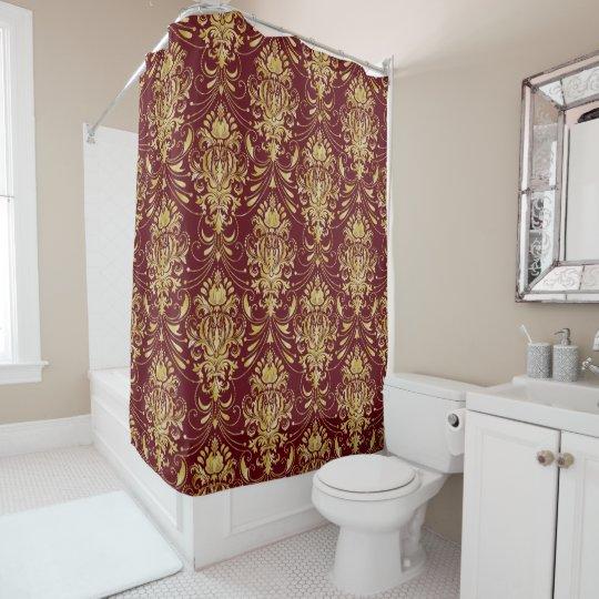 Vintage Gold Damask Pattern Over Burgundy Red Shower