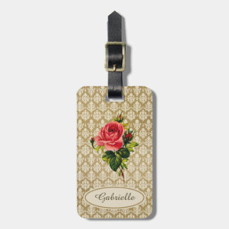Vintage Gold Damask Pattern Pink Rose and Name Luggage Tag