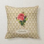 Vintage Gold Damask Pattern Pink Rose and Name Throw Pillows