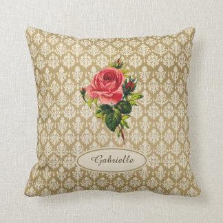 Vintage Gold Damask Pattern Pink Rose and Name Pillows