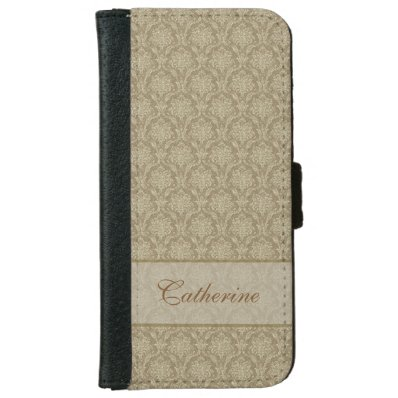 Vintage Gold Damask Personalized Wallet Phone Case For iPhone 6/6S