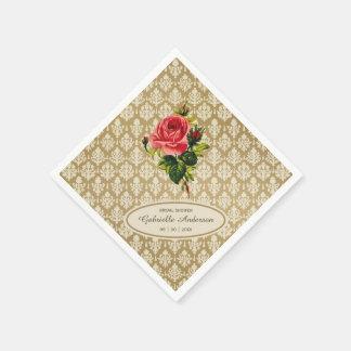 Vintage Gold Damask Pink Rose Bridal Shower Paper Napkin