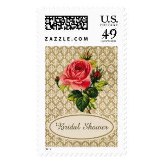 Vintage Gold Damask Pink Rose Bridal Shower Stamps