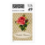 Vintage Gold Damask Pink Rose Bridal Shower Stamp