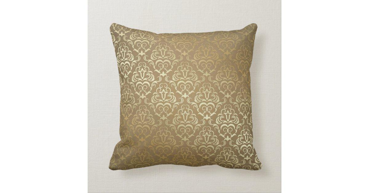 Vintage Gold Damask Print MoJo Throw Pillow Zazzle