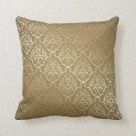Vintage Gold Damask Print MoJo Throw Pillow