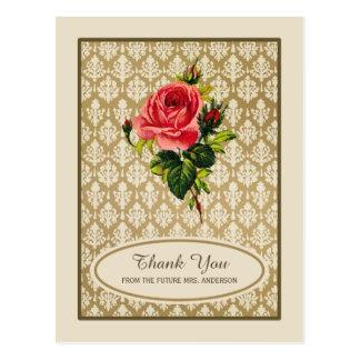 Vintage Gold Damask Rose Bridal Shower Thank You Postcard