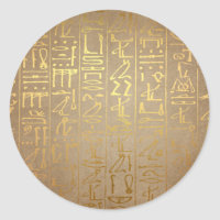 Vintage Gold Egyptian Hieroglyphics Paper Print Classic Round Sticker