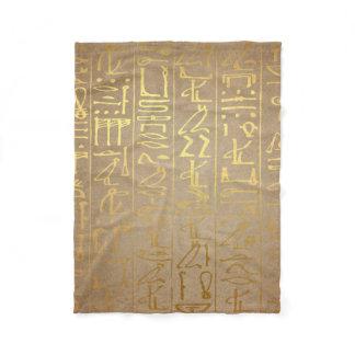 Vintage Gold Egyptian Hieroglyphics Paper Print Fleece Blanket