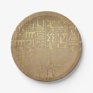 Vintage Gold Egyptian Hieroglyphics Paper Print Paper Plate